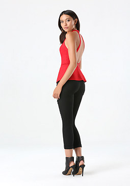 Backless Peplum Sweater at bebe
