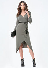 bebe Jade Tassel Belt Wrap Dress
