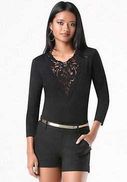 bebe Lace Trim Deep V Bodysuit