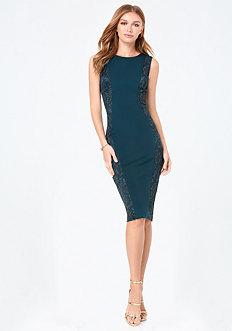 Ponte & Lace Midi Dress