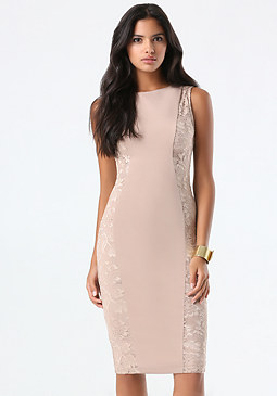 bebe Ponte & Lace Midi Dress