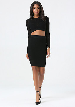 bebe Open Stitch Crop Top