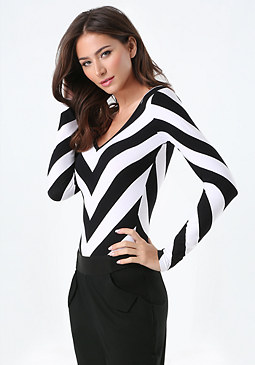 bebe Chevron Striped Bodysuit