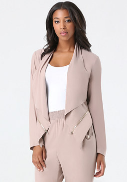 bebe Dramatic Lapel Zip Jacket