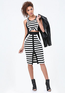 bebe Logo Striped Twist Crop Top