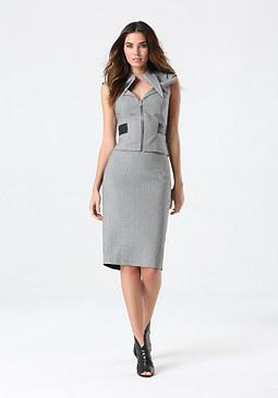 bebe Back Panel Midi Skirt