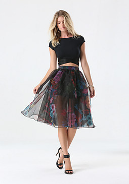 bebe Print Organza Midi Skirt