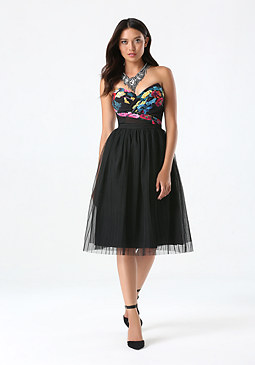 bebe Tulle Pleated Midi Skirt