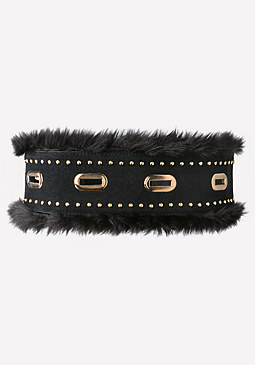 bebe Faux Fur Trim Stretch Belt