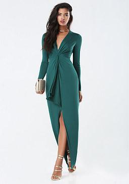bebe Slinky Twist Front Gown