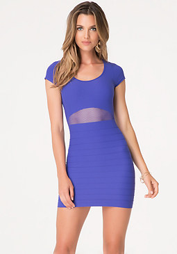 bebe Daisy Mesh Detail Dress