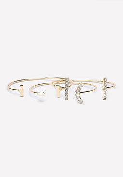 bebe Thin Cuff Bracelet Set