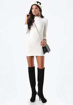 bebe Textured Mock Neck Dress