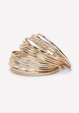 bebe Textured Metal Bangle Set