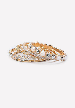 bebe Faux Pearl Bangle Set