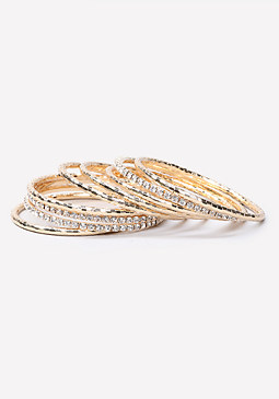 bebe Metal & Crystal Bangle Set