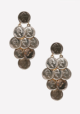 bebe Layered Coin Earrings