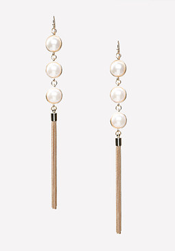 bebe Chain & Faux Pearl Earrings