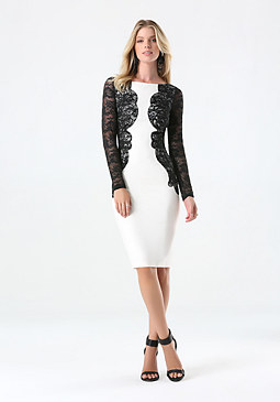 bebe Petite Lace Ponte Dress