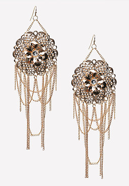 bebe Flower & Fringe Earrings