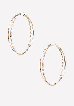 bebe Crossover Hoop Earrings