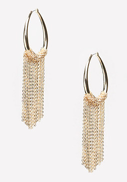bebe Chain Fringe Hoop Earrings