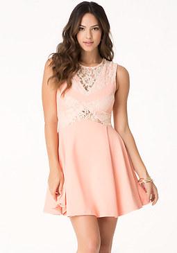 bebe Lace & Ponte Dress