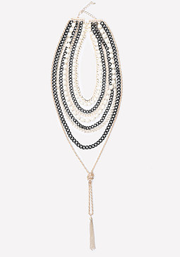 bebe Chain & Faux Pearl Necklace