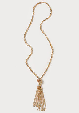 bebe Chain & Tassel Necklace