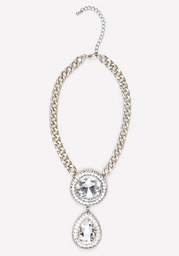 bebe Stone & Teardrop Necklace