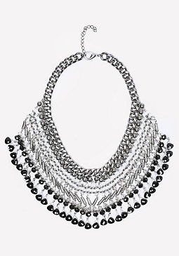 bebe Beaded Bib Necklace