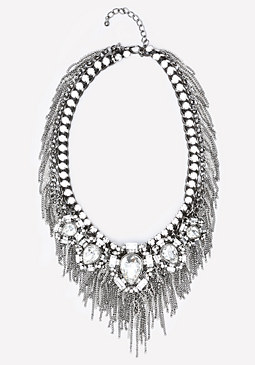 bebe Crystal & Fringe Necklace