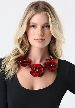 bebe Resin Flower Necklace