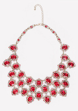 bebe Ornate Crystal Bib Necklace