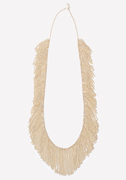 bebe Allover Fringe Necklace