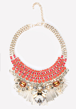 bebe Crystal Ribbon Bib Necklace