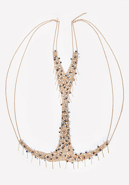 bebe Bead & Fringe Body Chain