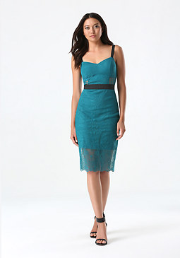 bebe Petite Lace Midi Dress