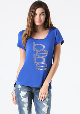 bebe Logo Relaxed Scoop Tee
