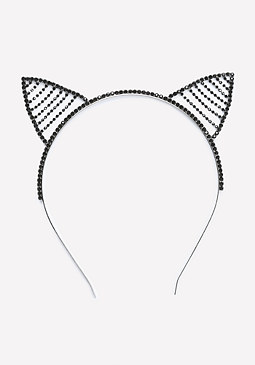 bebe Black Crystal Cat Headband