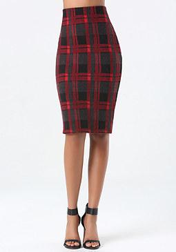 bebe Petite Plaid Midi Skirt