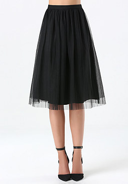 bebe Petite Tulle Midi Skirt
