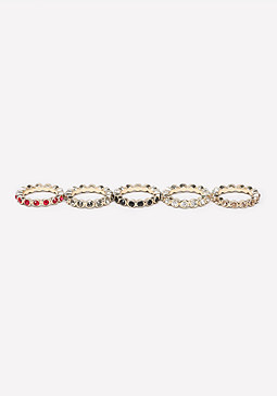 bebe Colorful Stackable Ring Set