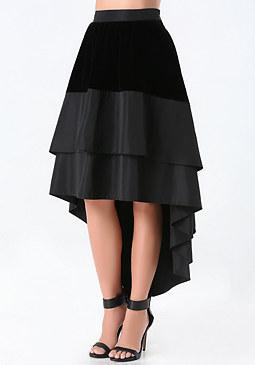 bebe Velvet Hi-Lo Skirt