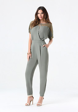bebe Jessy Lace Trim Jumpsuit