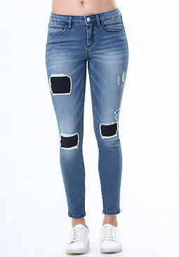bebe 2-Tone Patch & Repair Jeans