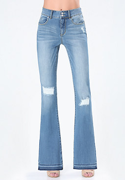 bebe Distressed Flared Jeans