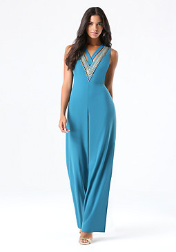 bebe Embellished V-Neck Jumpsuit