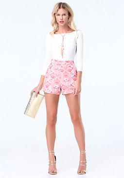 bebe Floral Jacquard Shorts