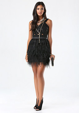 bebe Feather Miniskirt